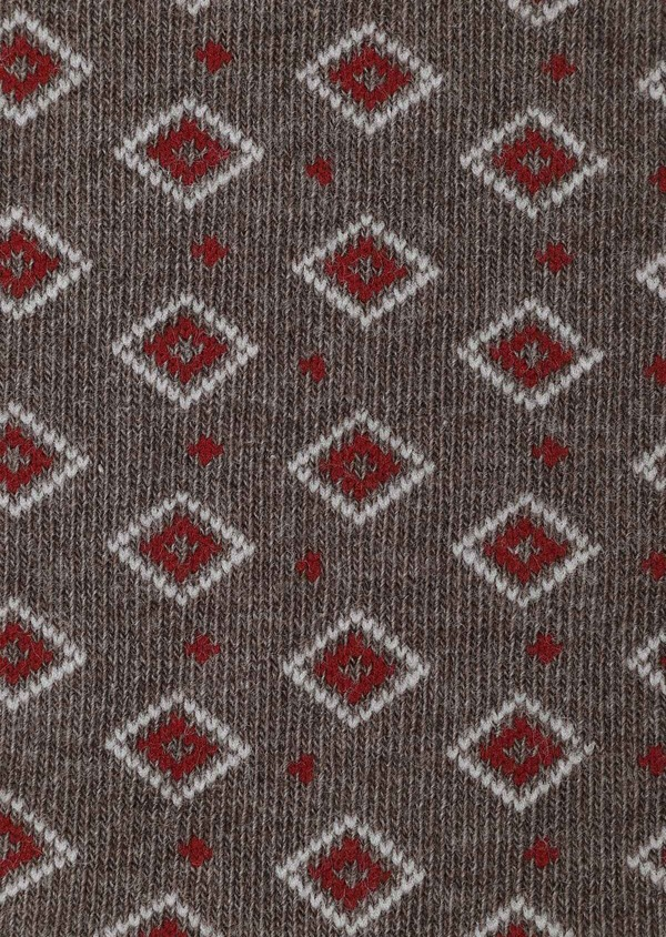 Chaussettes en coton mélangé marron à motif fantaisie rouge foncé et beige - Father and Sons 32159