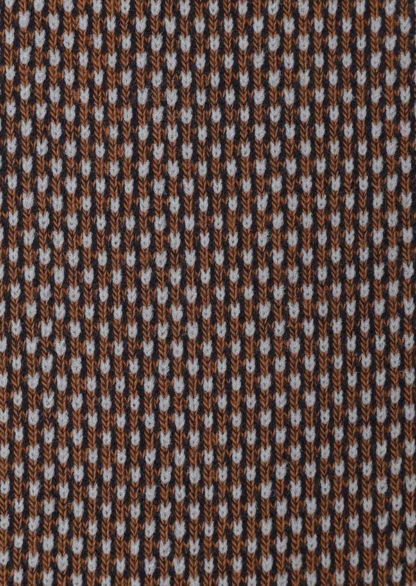 Chaussettes en coton mélangé cognac à motifs géométriques bleu marine et gris - Father and Sons 32147