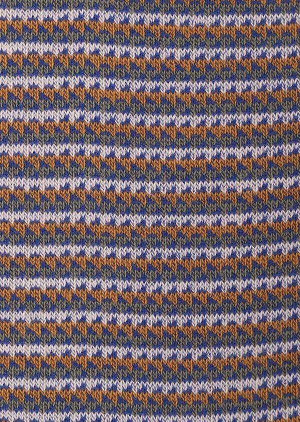 Chaussettes en coton mélangé vert kaki à rayures bleu, rose pâle et marron - Father and Sons 32139