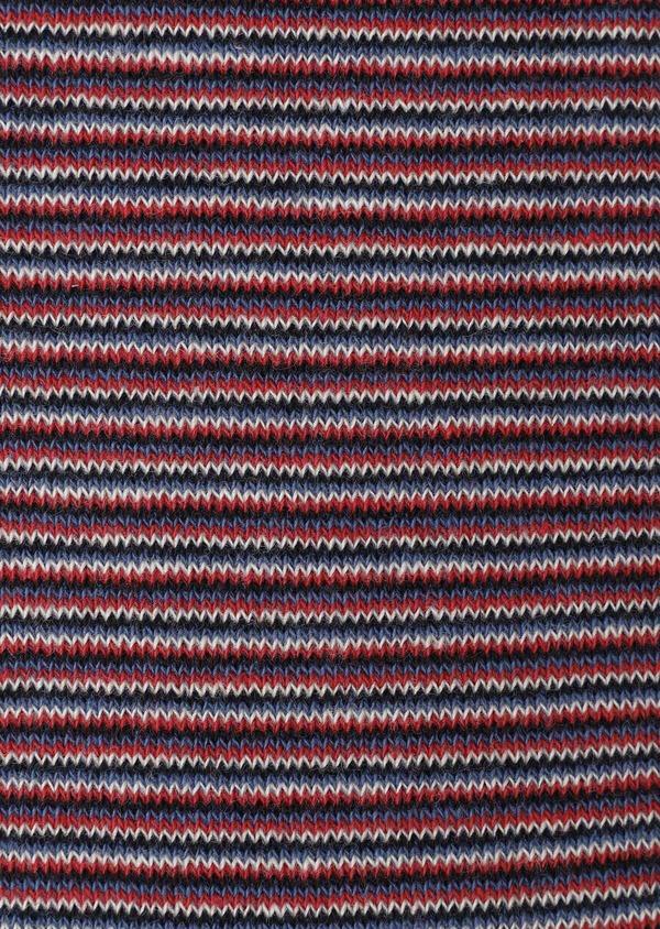 Chaussettes en coton mélangé bleu à rayures beige, rouge et noir - Father and Sons 32171