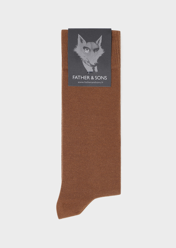 Chaussettes en coton mélangé uni cognac - Father and Sons 32118