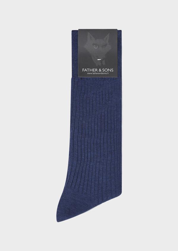 Chaussettes en coton fil d'Ecosse bleu chambray - Father and Sons 32198