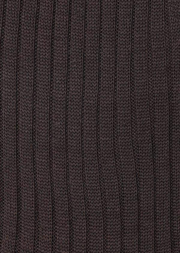 Chaussettes en coton fil d'Ecosse uni marron foncé - Father and Sons 32201