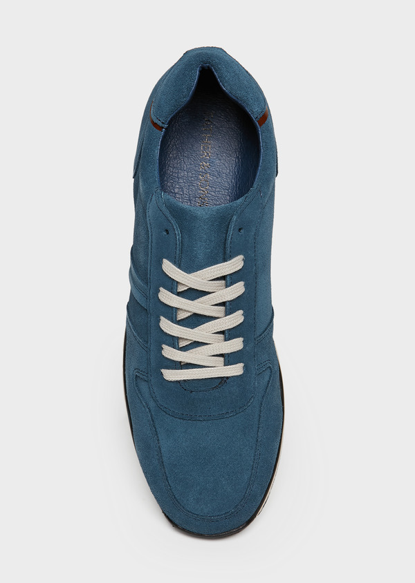 Baskets basses en cuir nubuck bleu marine - Father and Sons 26000