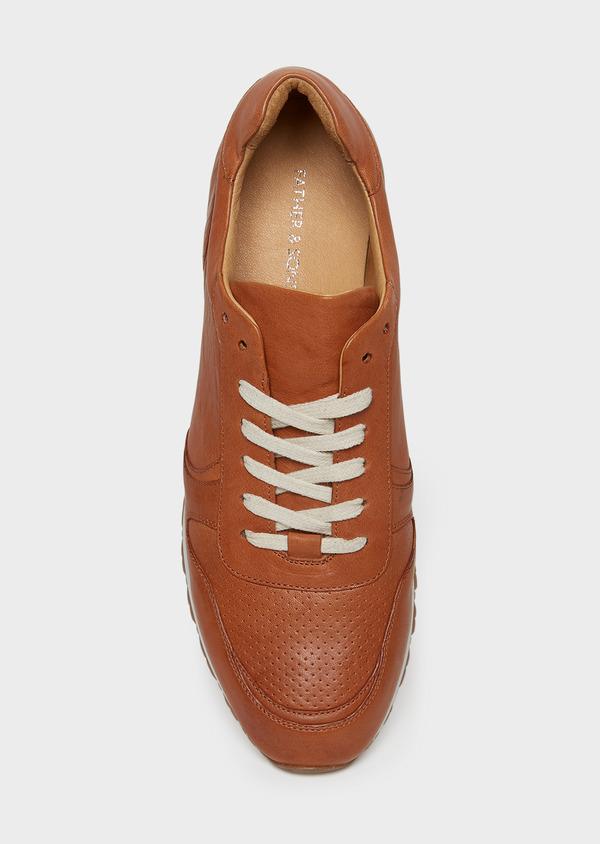 Baskets basses en cuir lisse cognac - Father and Sons 26005
