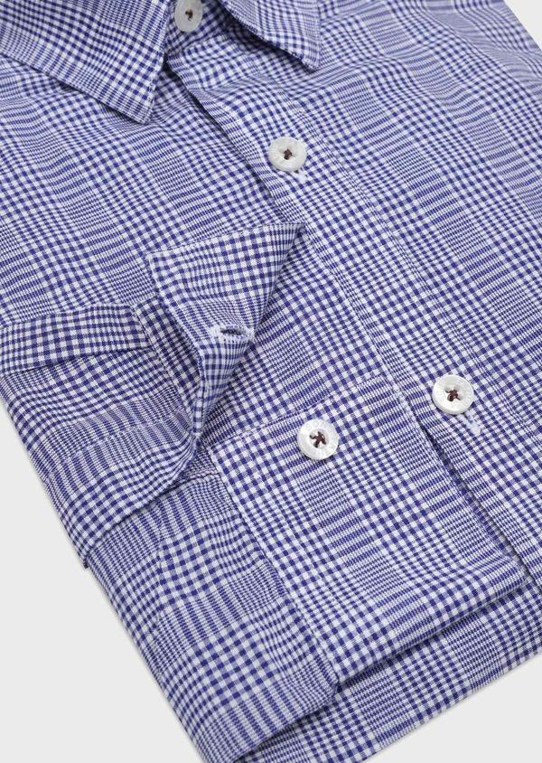 Chemise sport Slim en lin et coton bleu indigo Prince de Galles - Father and Sons 32505