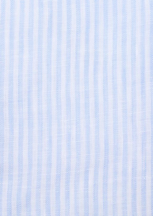 Chemise sport Slim en lin bleu ciel à rayures - Father and Sons 32499