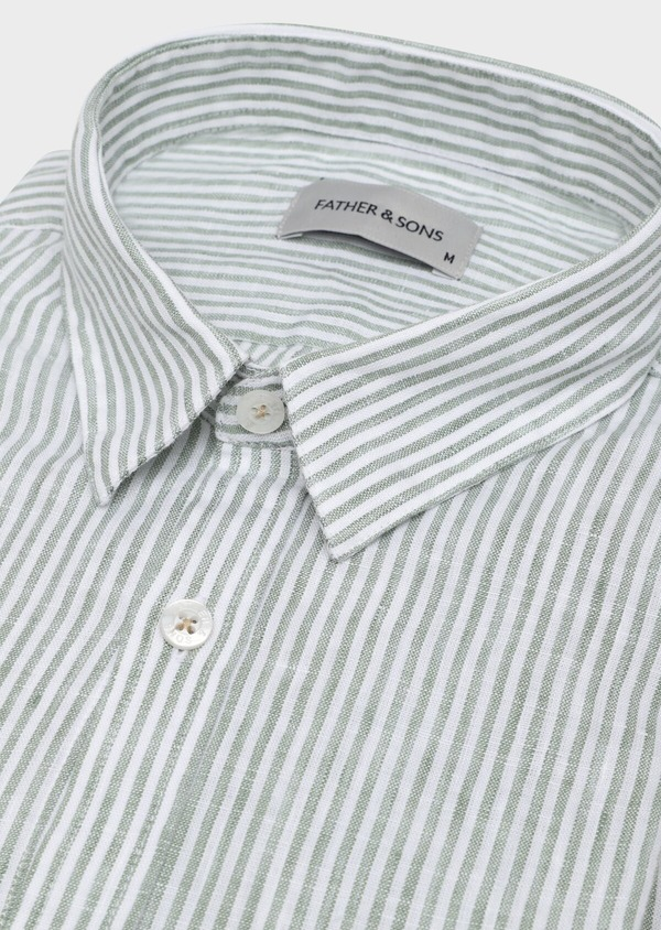 Chemise sport Slim en lin vert à rayures - Father and Sons 32524