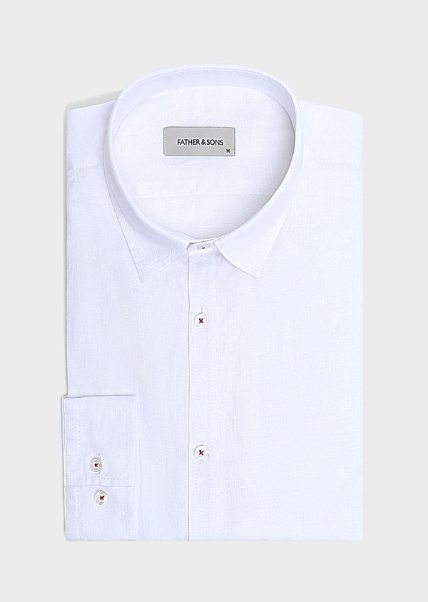 Chemise sport Slim en lin uni blanc - Father and Sons 32474