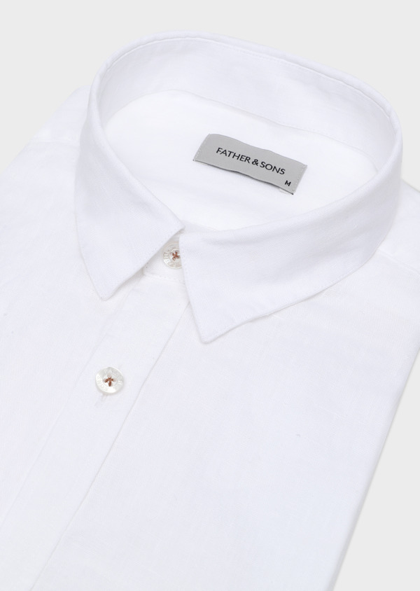 Chemise sport Slim en lin blanc uni - Father and Sons 32496