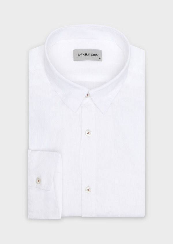Chemise sport Slim en lin blanc uni - Father and Sons 32494