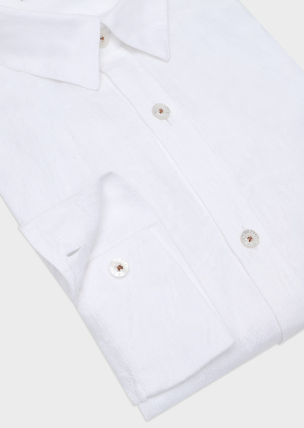 Chemise sport Slim en lin blanc uni - Father and Sons 32497