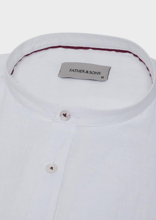 Chemise sport Slim en lin uni blanc à col officier - Father and Sons 34202