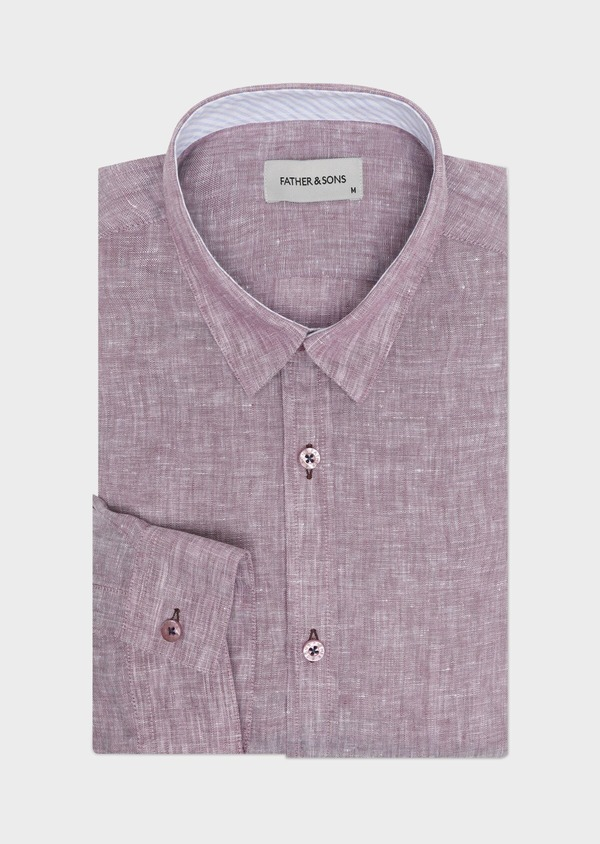 Chemise sport Slim en lin uni violet - Father and Sons 32506