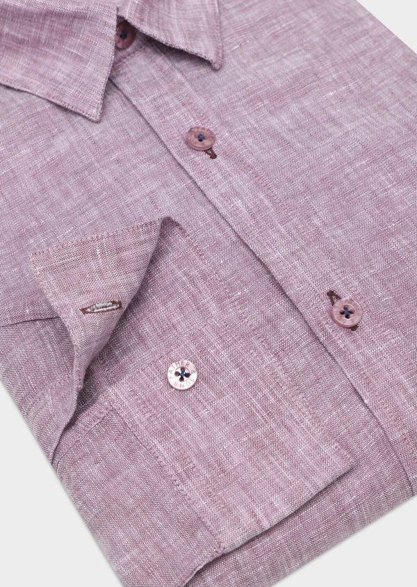 Chemise sport Slim en lin uni violet - Father and Sons 32509