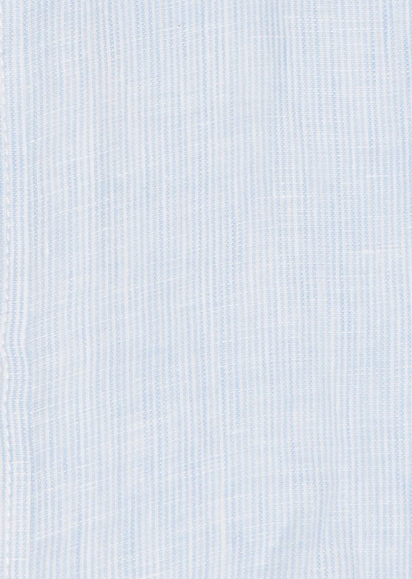 Chemise sport Slim en lin uni rayée blanc - Father and Sons 20095