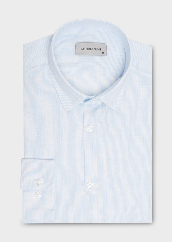 Chemise sport Slim en lin uni rayée blanc - Father and Sons 20094