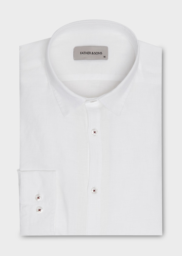 Chemise sport Slim en lin blanc - Father and Sons 18251