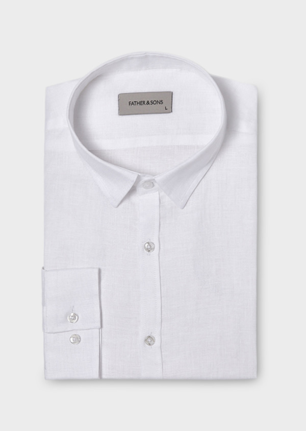 Chemise sport Slim en lin uni blanc - Father and Sons 19033