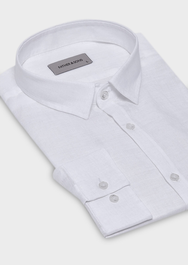 Chemise sport Slim en lin uni blanc - Father and Sons 19034