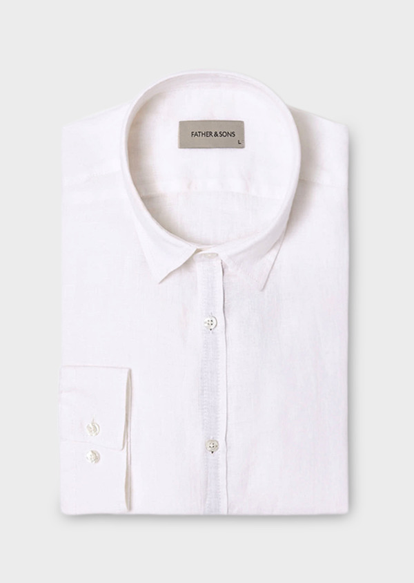 Chemise sport Slim en lin blanc - Father and Sons 19041