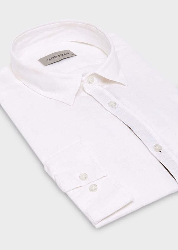Chemise sport Slim en lin blanc - Father and Sons 19042