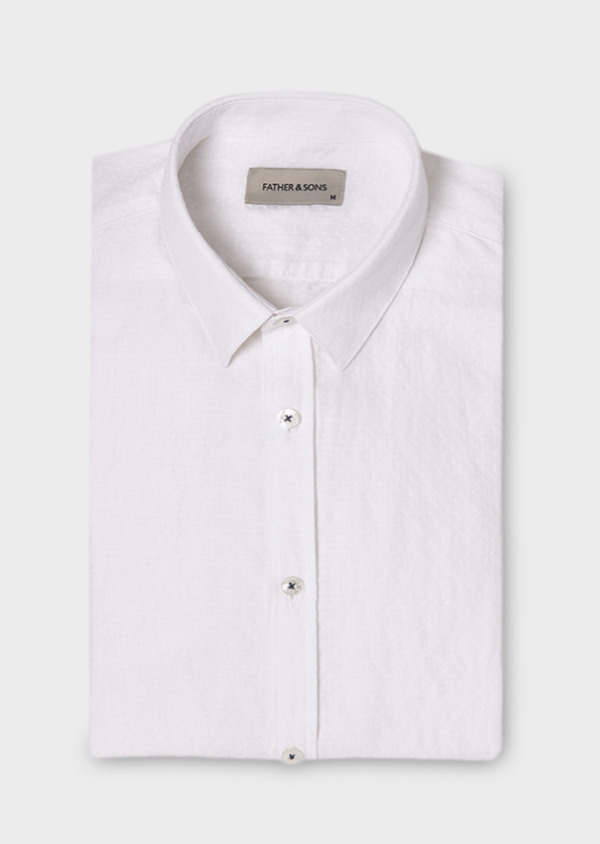 Chemise sport Slim blanche en lin - Father and Sons 19069