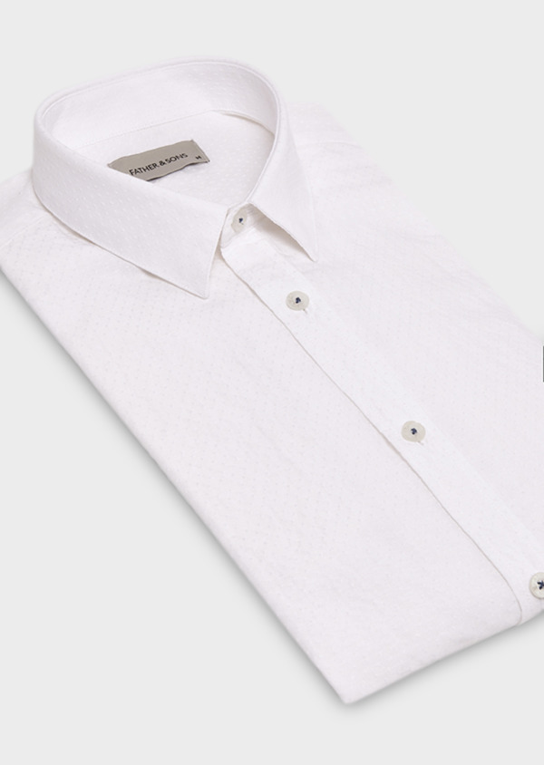 Chemise sport Slim blanche en lin - Father and Sons 19070