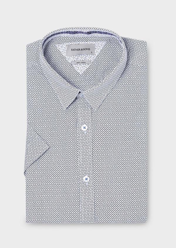 Chemise manches courtes Slim en popeline de coton blanche à motif fantaisie - Father and Sons 18968