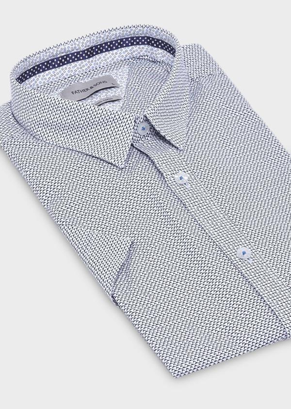 Chemise manches courtes Slim en popeline de coton blanche à motif fantaisie - Father and Sons 18969