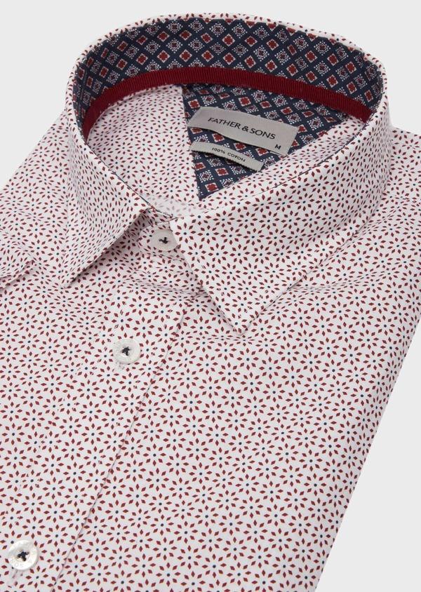 Chemise manches courtes Slim en popeline de coton blanc à motif fantaisie - Father and Sons 40129