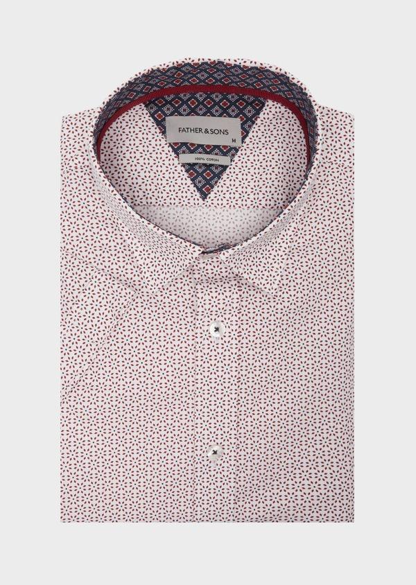 Chemise manches courtes Slim en popeline de coton blanc à motif fantaisie - Father and Sons 40127