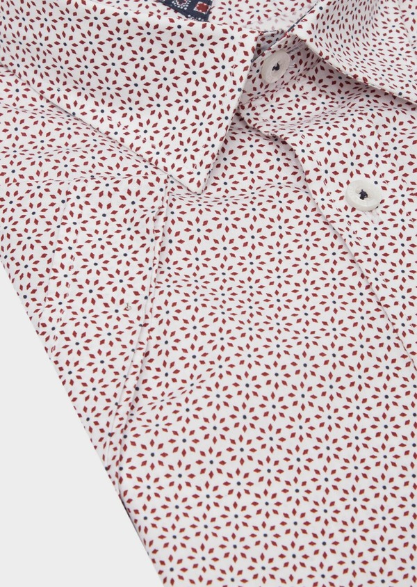Chemise manches courtes Slim en popeline de coton blanc à motif fantaisie - Father and Sons 40130