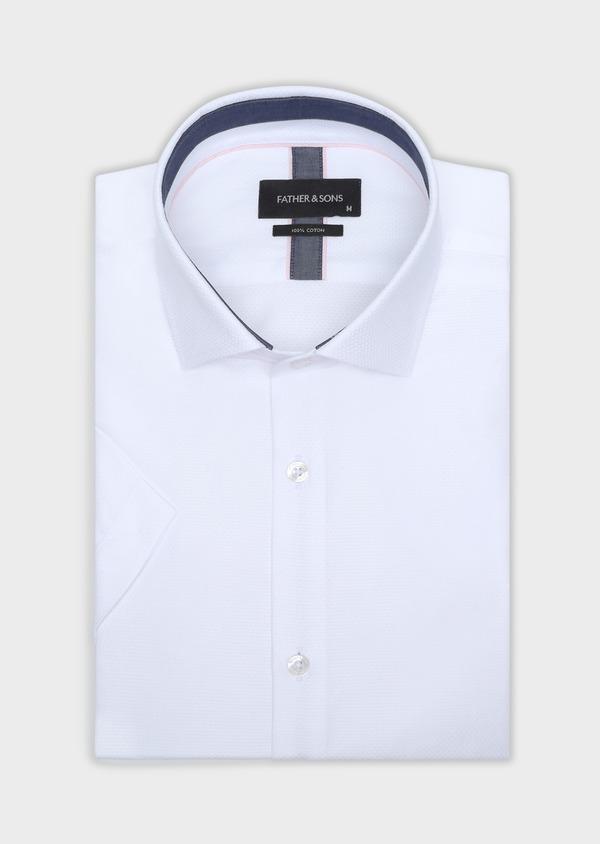 Chemise manches courtes Slim en coton façonné uni blanc - Father and Sons 34109