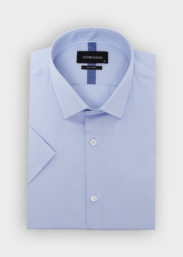Chemise manches courtes Slim en façonné de coton uni bleu ciel - Father and Sons 34418