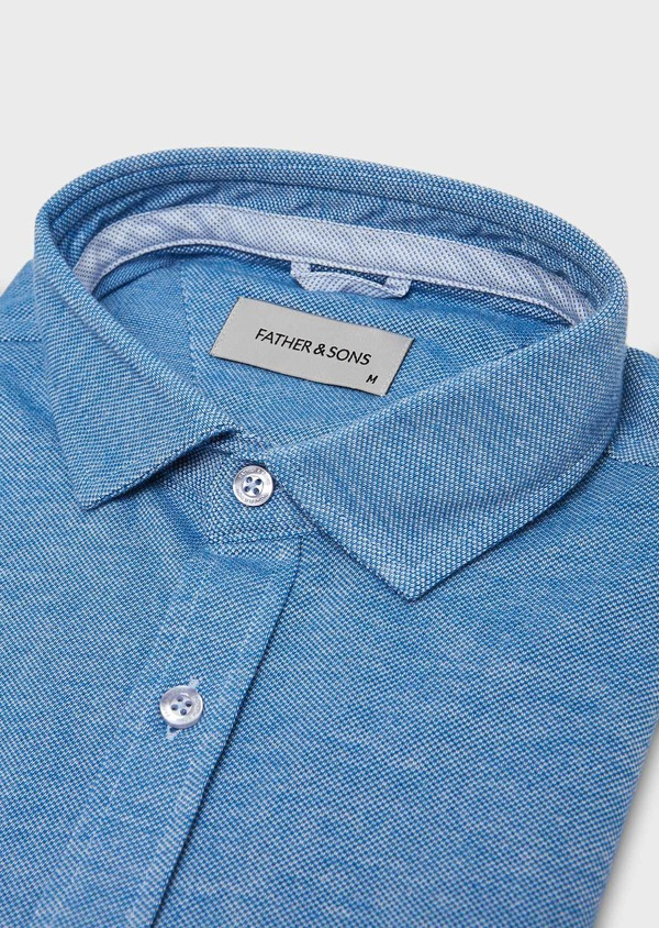 Chemise manches longues Slim en coton jersey uni bleu - Father and Sons 27411