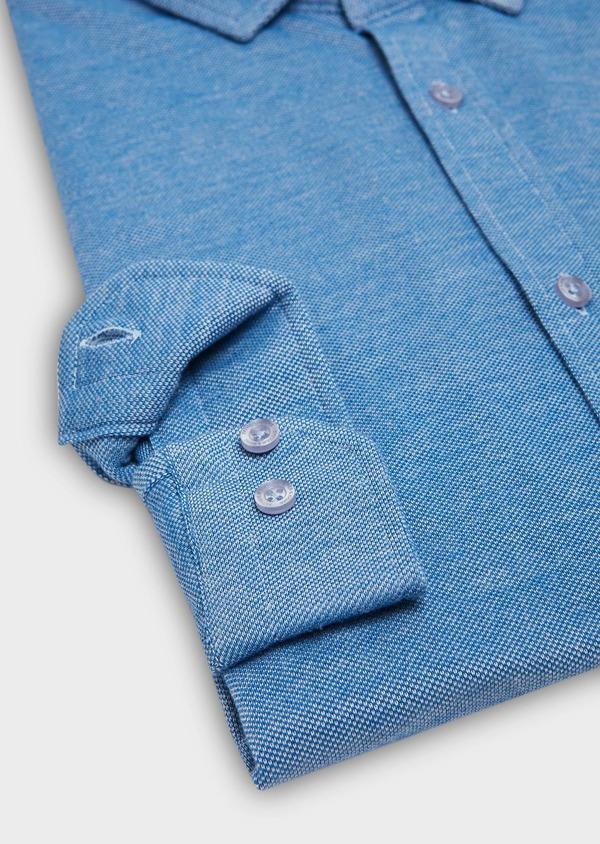 Chemise manches longues Slim en coton jersey uni bleu - Father and Sons 27412