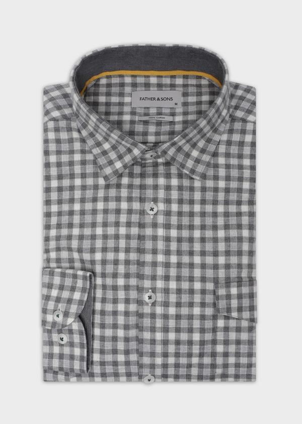 Chemise sport Regular en twill de coton gris à carreaux - Father and Sons 35652
