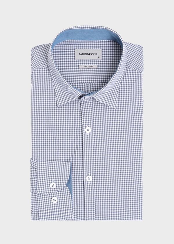 Chemise sport Regular en popeline de coton à carreaux bleus - Father and Sons 34371