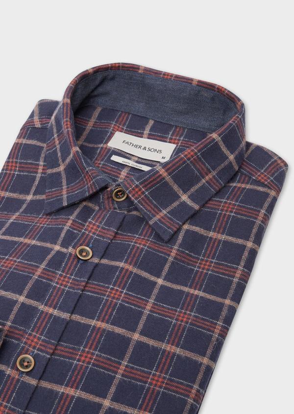 Chemise sport Regular en popeline de coton bleu nuit à motifs géométriques - Father and Sons 36593