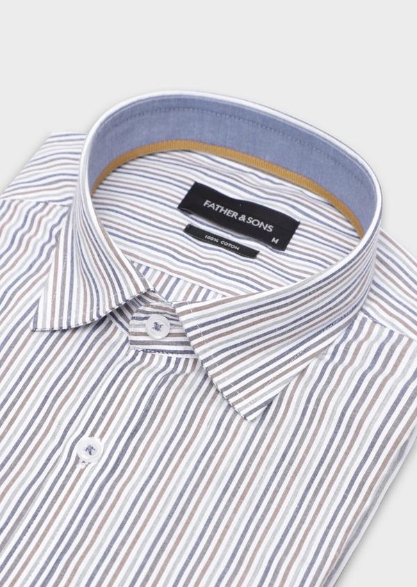 Chemise sport Regular en popeline de coton blanc à rayures - Father and Sons 35646