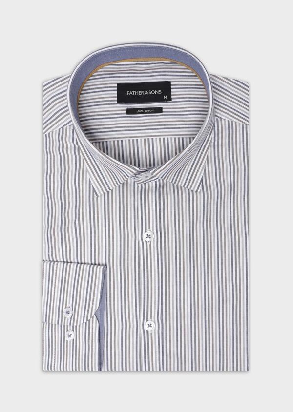 Chemise sport Regular en popeline de coton blanc à rayures - Father and Sons 35644