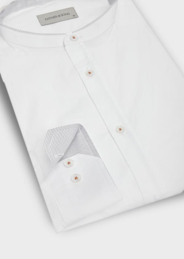 Chemise sport Regular en satin de coton uni blanc à col officier - Father and Sons 40172