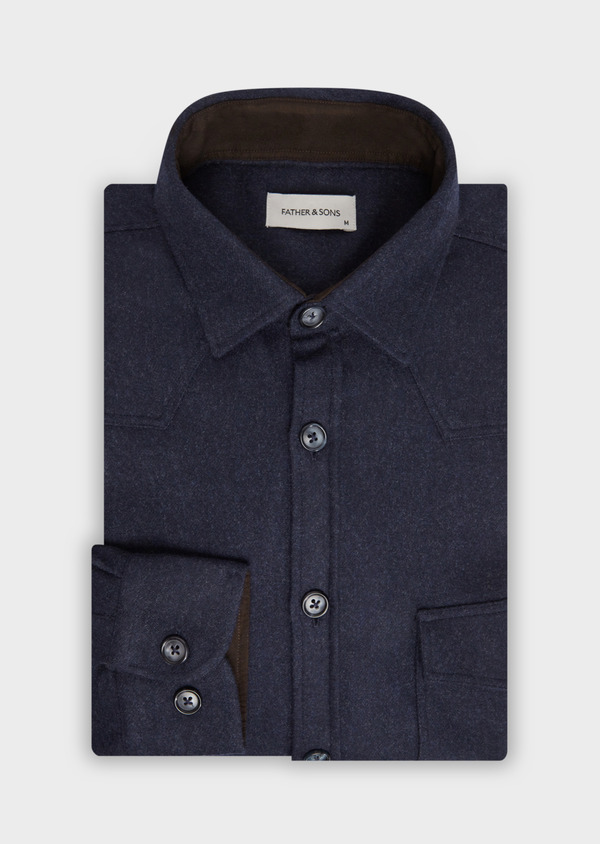 Chemise sport Regular en flanelle de laine mélangée unie bleu marine - Father and Sons 36302