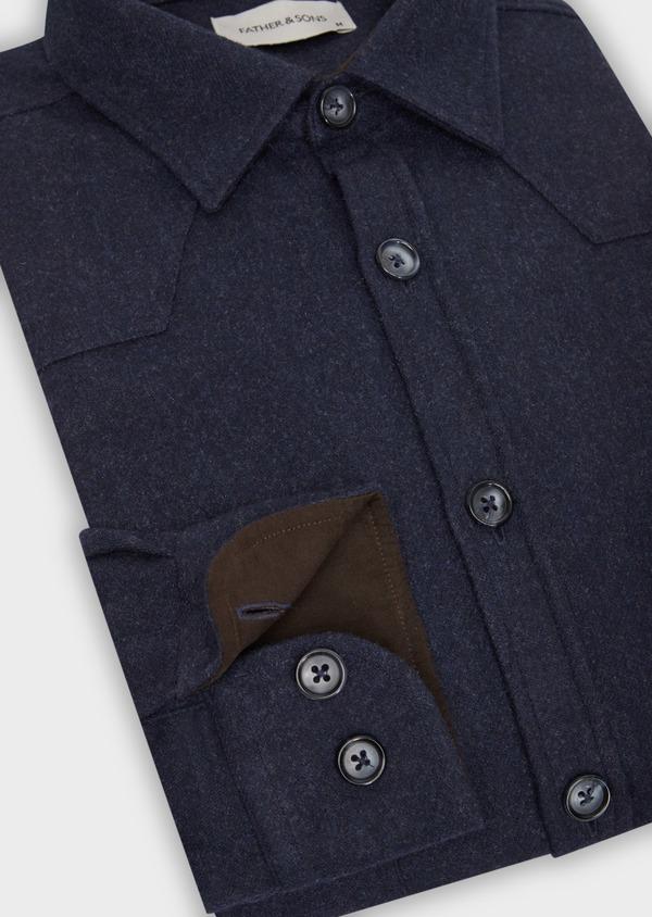 Chemise sport Regular en flanelle de laine mélangée unie bleu marine - Father and Sons 36305