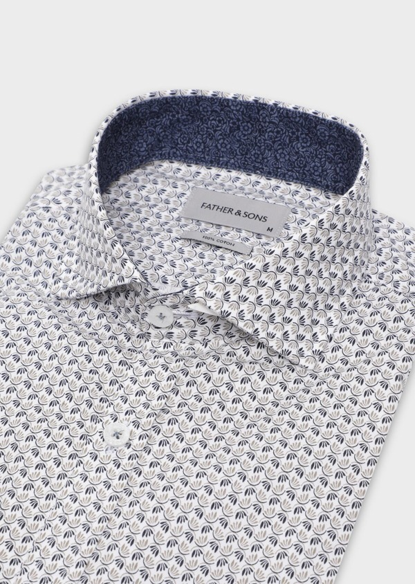 Chemise sport Slim en popeline de coton blanc à motif fantaisie - Father and Sons 35642