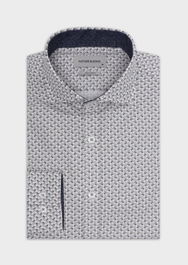 Chemise sport Slim en popeline de coton blanc à motif fantaisie - Father and Sons 35640