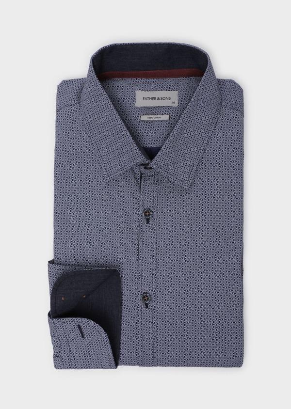 Chemise sport Slim en popeline de coton bleu indigo à motif fantaisie - Father and Sons 35751