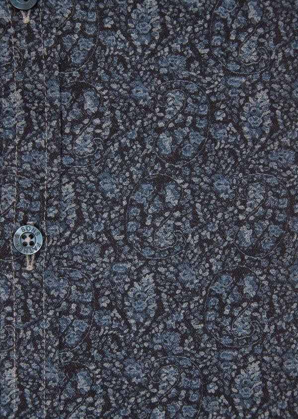 Chemise sport Slim en flannelle de coton bleu marine à motif fantaisie - Father and Sons 36588