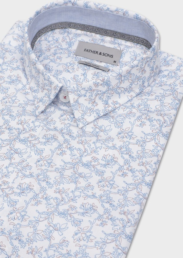 Chemise sport Slim en coton façonné blanc à motif fleuri - Father and Sons 35745